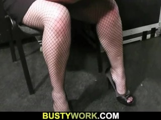 Bbw in fishnets gives head and doggystyled