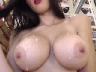 Very hot babe spitting on herself