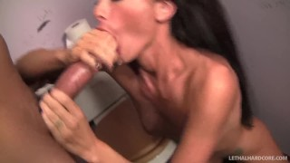 Randi Wright discovers large cock through gloryhole, gives blowjob  natural-tits milf hardcore brunette mother lethalhardcore mom gloryhole