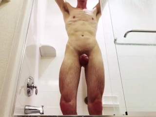 Shower sex with twins muscle cock wet cum