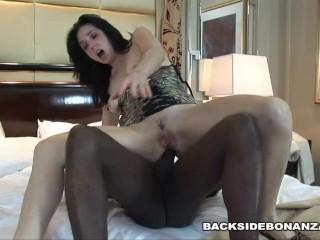BACKSIDE Hotwife Karen Kougar gets Anal Sex and Creampied by Black Stud
