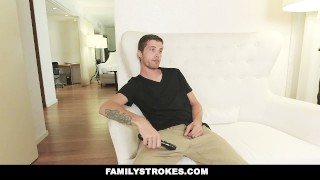 FamilyStrokes - Mom Caught Me Fucking My Step-Sis step-siblings megan-sage hardcore big-cock shaved step-sis cumshot step-brother smalltits brunette familystrokes facialize bigcock petite step-sister facial