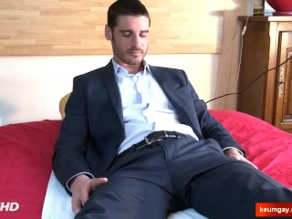 My banker made a porn: watch his huge cock gets wanked!