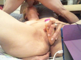 Double Penetrating MYSELF And Cumming , while sucking hubby Dick!!