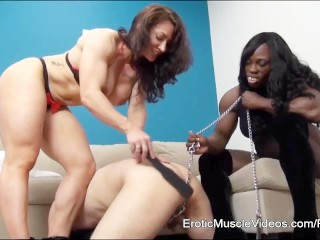 EroticMuscleVideos BrandiMae and Miss Treasure Train Slave To LOVE Cuckold