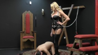 Briana Banks Femdom  slave asslicking bdsm big-tits boots femdom blonde dungeon tattoo kink domme german assworship mistress stockings ass licking meandungeon