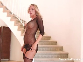 Hot blonde Samantha masturbates in fishnets