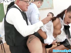 Rich students orgy with male teacher in class