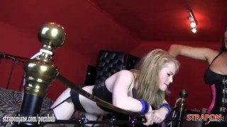 Horny femdom Strapon Jane spanks blondes sexy ass and fucks her tight pussy redhead girl on girl femdom hardcore spanking big tits british blonde babe big boobs deepthroat bdsm mistress lesbian bondage brunette lesbian strapon adult toys straponjane ass spanking