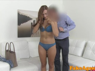 FakeAgent Shy fit redhead amateur loves sucking cock on camera