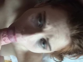 POV redhead girl gets her throat pounded after taking in her tight ass