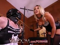 ClubDom Goddess Nikki Pegs Her Bitch Before Feeding Him Jizz