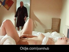 Young babe fucked her old step dad after seeing him naked in the shower