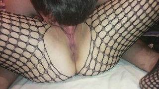 Preview 4 of pussy licking until she squirts and moans in fishnets