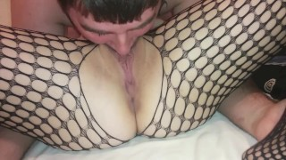 Preview 5 of pussy licking until she squirts and moans in fishnets