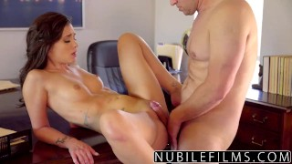 NubileFilms - Sexy Brunette Twerkin On Dick  babe ass-licking nubilefilms blowjob cumshot skinny young hardcore brunette cowgirl petite shaved small-tits big-dick gia paige riding dick