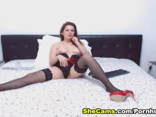 Gorgeous Shemale with Big Tits Masturbates her Hard Dick