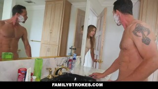 FamilyStrokes - Mom Showered While I fucked My Step-Dad  step dad step daughter big tits big cock mom blonde bathroom shower familystrokes cougar shaved mother facialize facial blair williams big boobs step daddy cum shot step father
