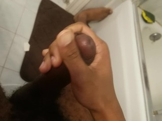 Solo bbc jerks in bathroom till cum