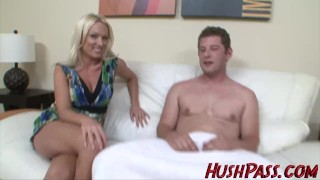 Preview 2 of Sexy Blonde Milf struggles with Biggest White Cock!