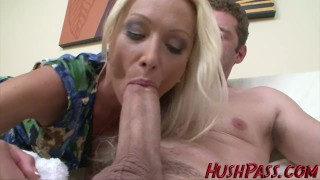 Preview 4 of Sexy Blonde Milf struggles with Biggest White Cock!