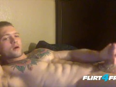 Handsome Athletic Guy Loves Stroking His Big Cock Till He Cums