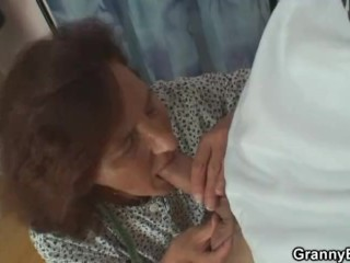 Sewing old granny rides his young cock