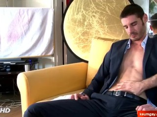 A innocent str8 suite trouser guy serviced his cock in spite of him!