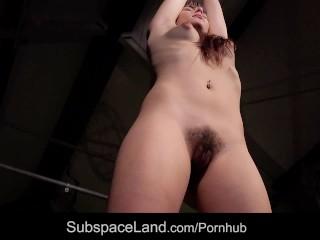 Ruthless stimulation for slave hairy pussy restrained in bondage agony