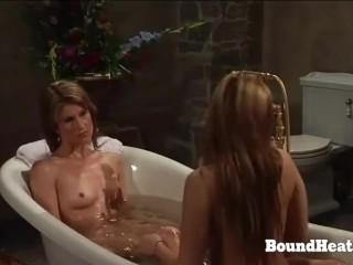 Mistress Spy On Two Slaves Taking A Bath