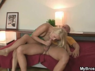 Blonde girl cheats with his brother