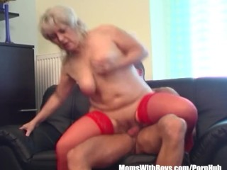 TV Repairman Seduced By Busty Blonde Horny Grandma