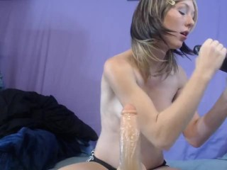 black-white 2 dildo blowjob