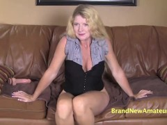 Amateur Mom sucks and swallows at casting interview