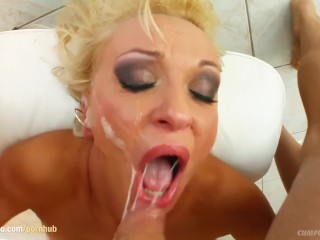 Bukkake blowbang scene with Kitty from Cum For Cover