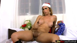 Xmas present shebabe strips off and masturbates all naked