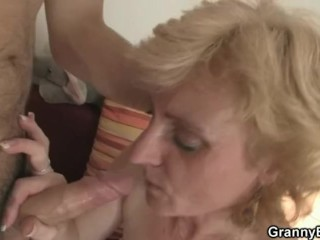 Old blonde granny jumps on young meat