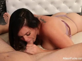 Alison drains Chad's cock with her mouth
