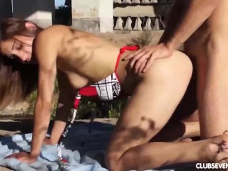 Teen babe gets nailed outdoors