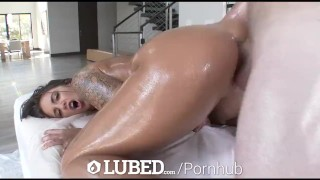 LUBED - Lucky guy fucks Layla London's huge oiled up tits