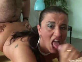 Dutch MILF Fucks Two Cocks