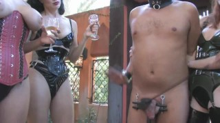 4 Mistress Humiliate Slave while drinking champagne CBT Femdom  cock torture cbt outside femdom 4 mistress 1 slave public kink humiliate domina 4 herrin sklave mistress dick slap group femdom public humiliation