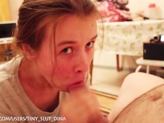 Russian tiny slut Dina make a gorgeous blowjob after shchool