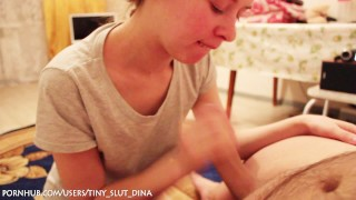 Preview 5 of Russian tiny slut Dina make a gorgeous blowjob after shchool