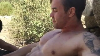 Caught fucking in a National Park!  abs muscles webcam muscle doggy style muscle-stud outdoor stud couple public blowjob amateur