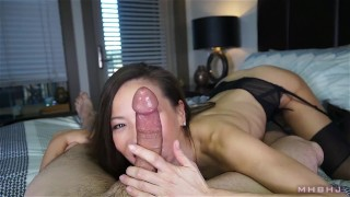Sexy asian cocksucker works up a fat load  cock-sucking point-of-view big-load mhb nylon asian kalina-ryu huge-cock skinny mark-rockwell big-cumshot petite nylon-feet the-pose mhbhj