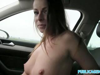 PublicAgent Hot brunette milf gets fucked hard for cash on car bonnet