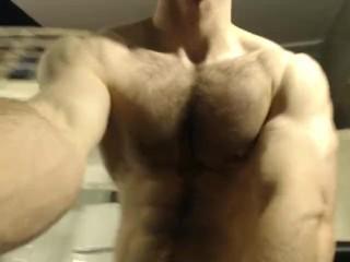 man posing nude, flyover, body show