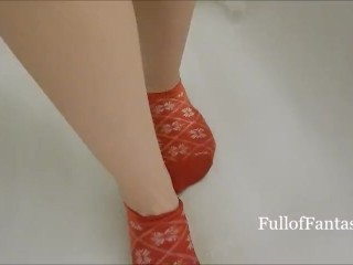 Pissing on Cute Christmas Ankle Socks!