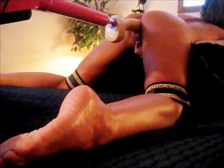 WIFE BOUND AND BLINDFOLDED GUSHES FUCKING HUGE DILDO MACHINE cum shot